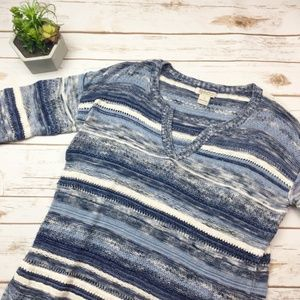 Lucky Brand blue and white knit 3/4 length sweater